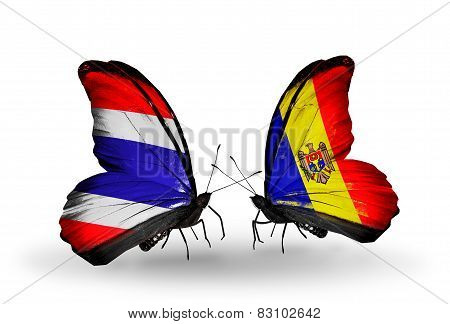 Two Butterflies With Flags On Wings As Symbol Of Relations Thailand And Moldova