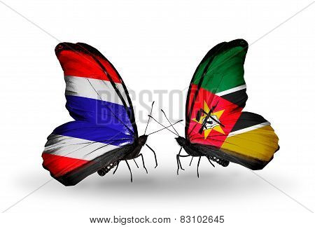Two Butterflies With Flags On Wings As Symbol Of Relations Thailand And Mozambique