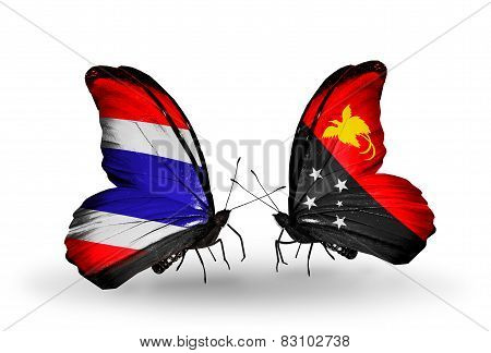 Two Butterflies With Flags On Wings As Symbol Of Relations Thailand And Papua New Guinea