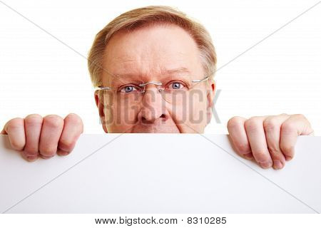Manager Looking Over White Border