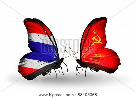 Two Butterflies With Flags On Wings As Symbol Of Relations Thailand And Soviet Union