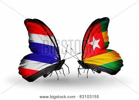 Two Butterflies With Flags On Wings As Symbol Of Relations Thailand And Togo