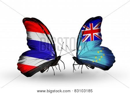 Two Butterflies With Flags On Wings As Symbol Of Relations Thailand And Tuvalu