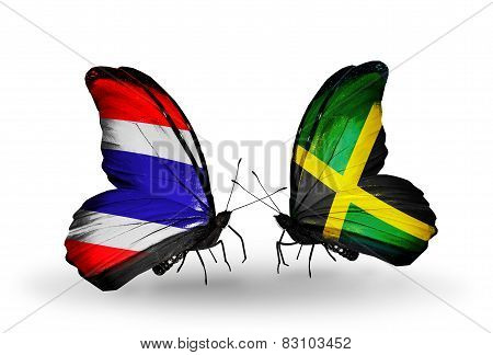 Two Butterflies With Flags On Wings As Symbol Of Relations Thailand And Jamaica