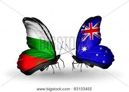 Two Butterflies With Flags On Wings As Symbol Of Relations Bulgaria And Australia