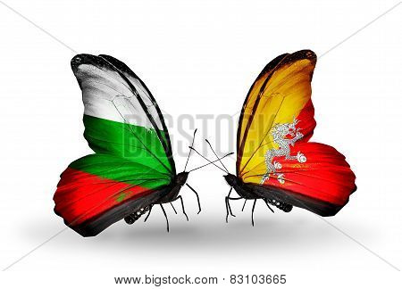 Two Butterflies With Flags On Wings As Symbol Of Relations Bulgaria And Bhutan