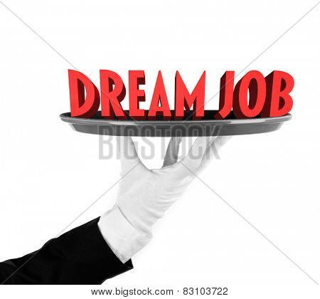 Tray with text Dream Job on it in waiter's hand isolated on white