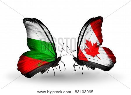 Two Butterflies With Flags On Wings As Symbol Of Relations Bulgaria And Canada