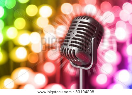 Retro microphone on bright background, Karaoke concept