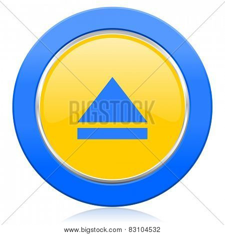 eject blue yellow icon open sign