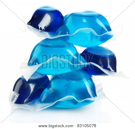 Gel capsules with laundry detergent isolated on white