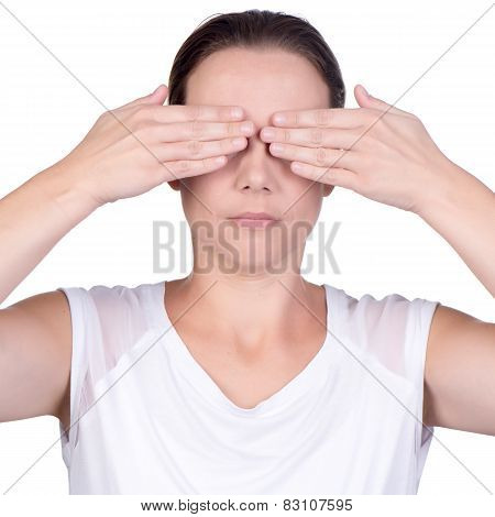 Woman Using Both Hands To Cover Her Eyes