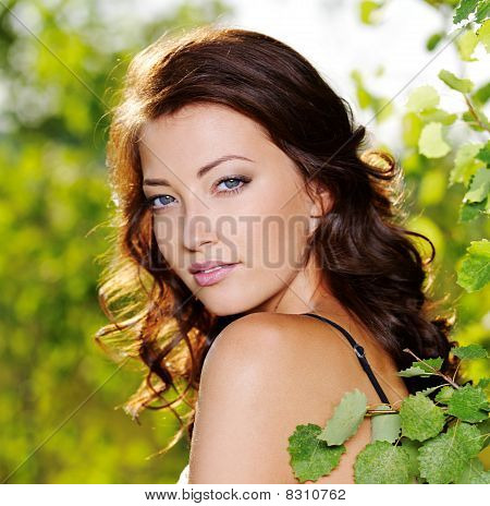 Beautiful Face Of The Sexy Woman On The Nature