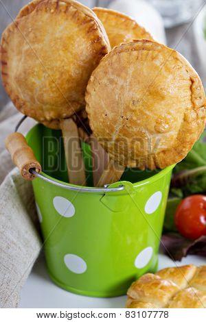 Savory hand pies on sticks
