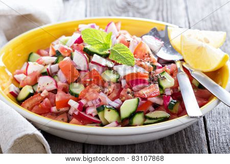 Fresh vegetable salad with mustard dressing