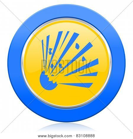 bomb blue yellow icon