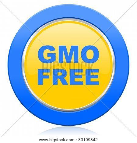 gmo free blue yellow icon no gmo sign