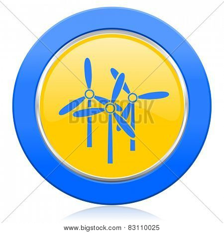 windmill blue yellow icon renewable energy sign