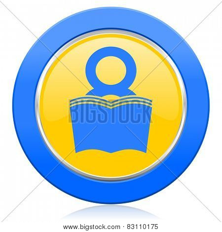 book blue yellow icon reading room sign bookshop symbol