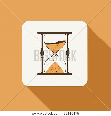 Hourglass Flat Icon With Long Shadow