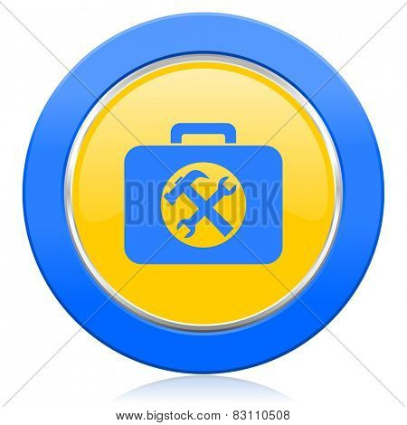 toolkit blue yellow icon service sign