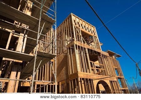 Wooden framing for construction of new condominiums, apartments or townhomes