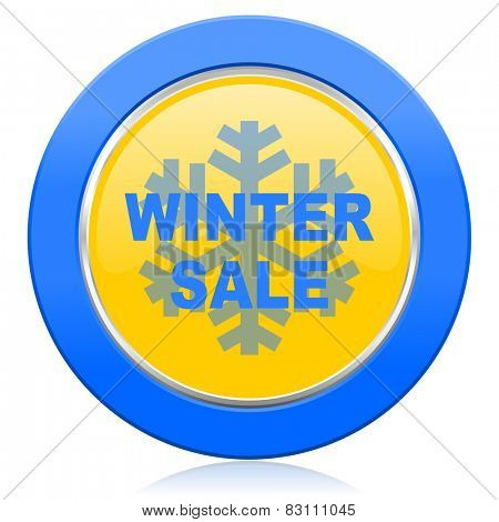 winter sale blue yellow icon