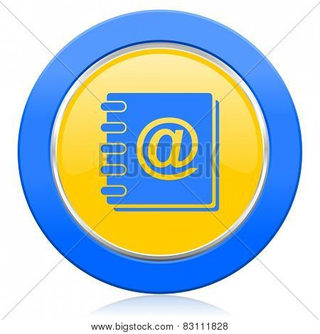 address book blue yellow icon