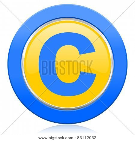 copyright blue yellow icon