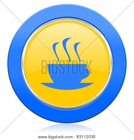 espresso blue yellow icon hot cup of caffee sign