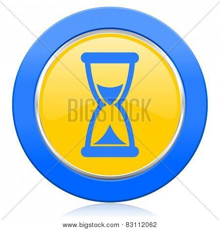 time blue yellow icon hourglass sign