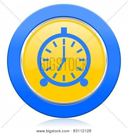 alarm blue yellow icon alarm clock sign