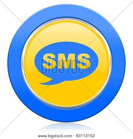 sms blue yellow icon message sign