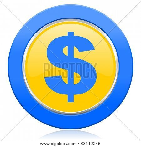 dollar blue yellow icon us dollar sign