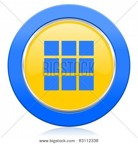 thumbnails grid blue yellow icon gallery sign
