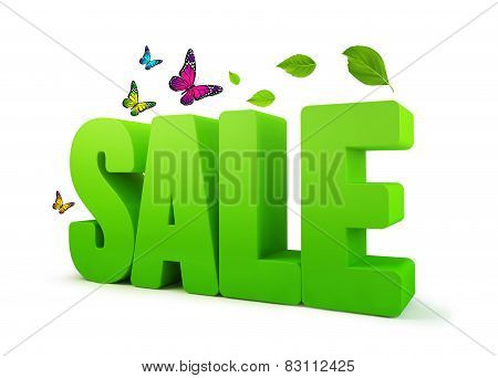 Sale Spring Green 3D Word Isolated