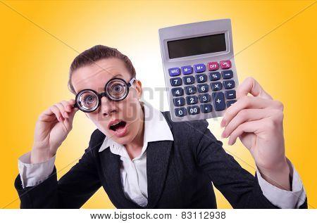 Nerd female accountant with calculator