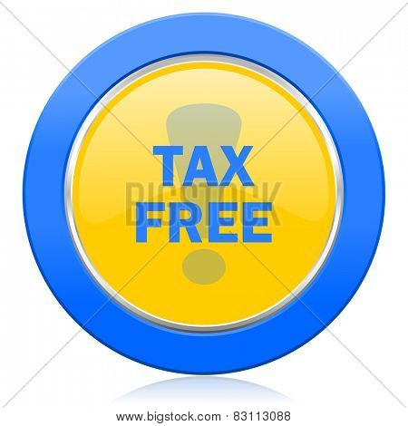 tax free blue yellow icon