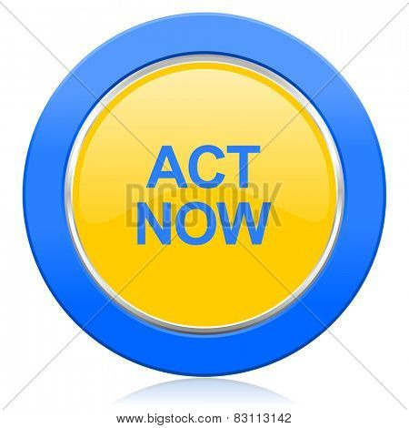 act now blue yellow icon