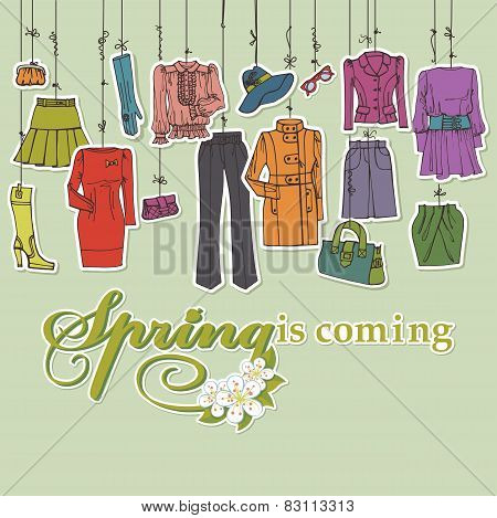 Постер, плакат: Womans clothing and accessories hanging on ropes Spring, холст на подрамнике