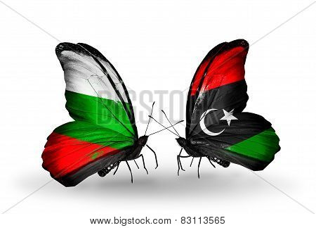 Two Butterflies With Flags On Wings As Symbol Of Relations Bulgaria And Libya
