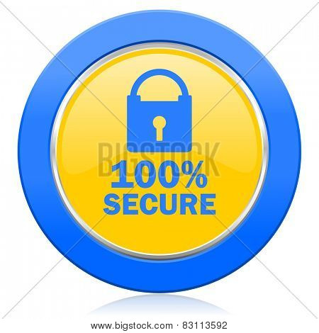 secure blue yellow icon