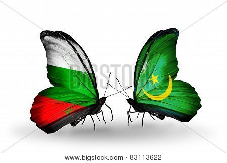 Two Butterflies With Flags On Wings As Symbol Of Relations Bulgaria And Mauritania