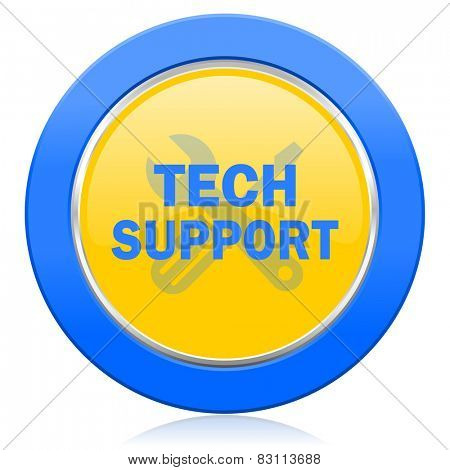 technical support blue yellow icon