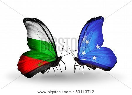 Two Butterflies With Flags On Wings As Symbol Of Relations Bulgaria And Micronesia