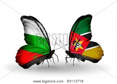 Two Butterflies With Flags On Wings As Symbol Of Relations Bulgaria And Mozambique