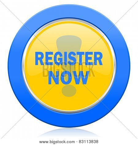 register now blue yellow icon