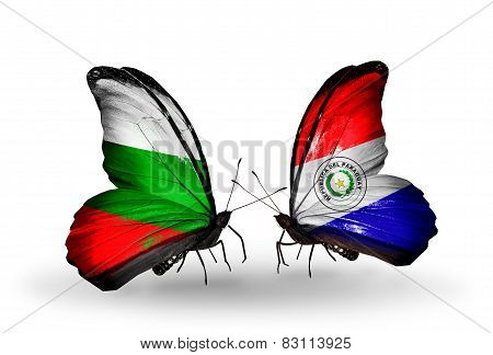 Two Butterflies With Flags On Wings As Symbol Of Relations Bulgaria And Paraguay