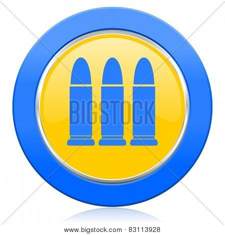 ammunition blue yellow icon weapoon sign