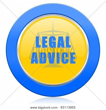 legal advice blue yellow icon law sign